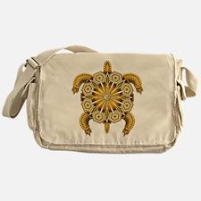 Yellow Native American Beadwork Turt Messenger Bag