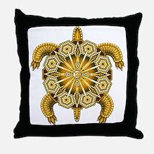 Yellow Native American Beadwork Turtl Throw Pillow