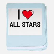 I Love All-Stars Digitial Design baby blanket