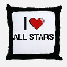 I Love All-Stars Digitial Design Throw Pillow