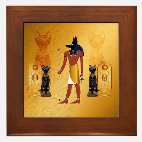 Anubis, ancient Egyptian god Framed Tile