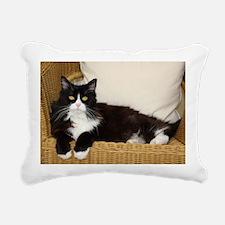 Cute Black and white tuxedo cat Rectangular Canvas Pillow