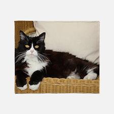 Cool Black white tux cat Throw Blanket
