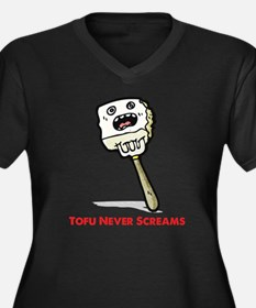 Tofu Women's Plus Size V-Neck Dark T-Shirt
