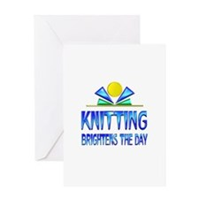 Knitting Brightens the Day Greeting Card