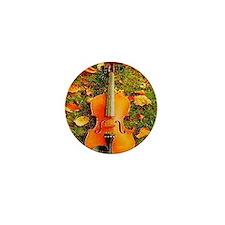 romantic fall leaves violin Mini Button