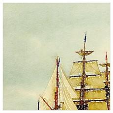 seascape ocean vintage sailboat  Poster