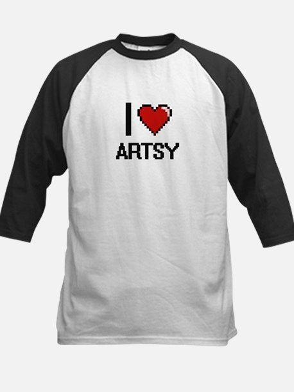 I Love Artsy Digitial Design Baseball Jersey