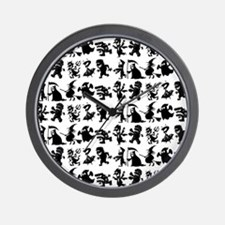 Halloween Monsters Pattern Wall Clock