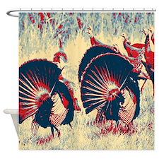 vintage american wild turkey Shower Curtain