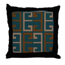 Earthy Blue Aztec Tile Throw Pillow