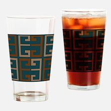Earthy Blue Aztec Tile Drinking Glass
