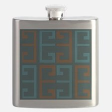 Cool Blues and Brown Tile Flask