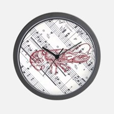 vintage musical red lobster Wall Clock