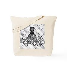 vintage nautical steampunk octopus Tote Bag