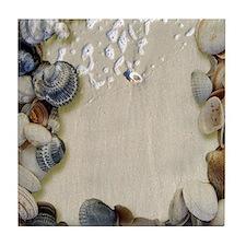 summer ocean beach seashells Tile Coaster
