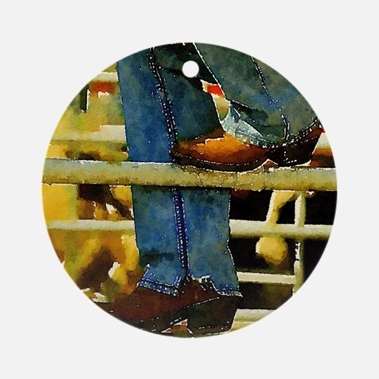 western country rodeo cowboy Round Ornament