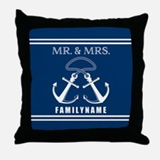 Navy and White Double Anchor Rope Mr Throw Pillow
