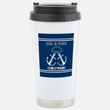 Navy and White Double A Travel Mug
