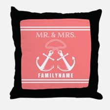 Coral and White Double Anchor Rope Mr Throw Pillow