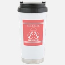 Coral and White Double Travel Mug