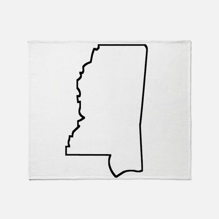 Mississippi Outline Throw Blanket