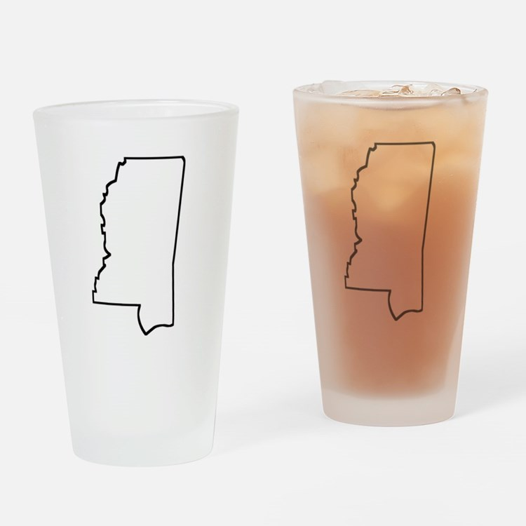 Mississippi Outline Drinking Glass