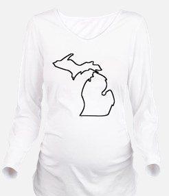 Michigan Outline Long Sleeve Maternity T-Shirt