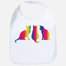 Three little colourful cats Bib