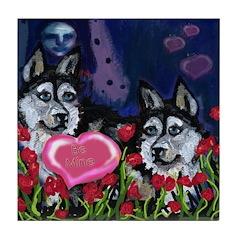 SIBERIAN HUSKY VALENTINES day Tile Coaster