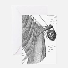 Blackbeard's Head Being hung from t Greeting Cards