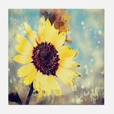 romantic summer watercolor sunflower Tile Coaster
