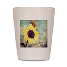 romantic summer watercolor sunflower Shot Glass