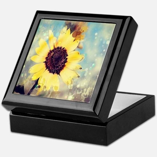 romantic summer watercolor sunflower Keepsake Box