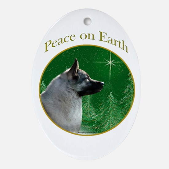 Elkhound Peace Oval Ornament