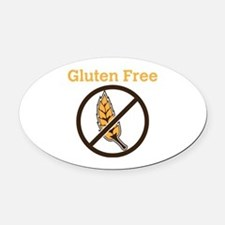 No Wheat  Oval Car Magnet