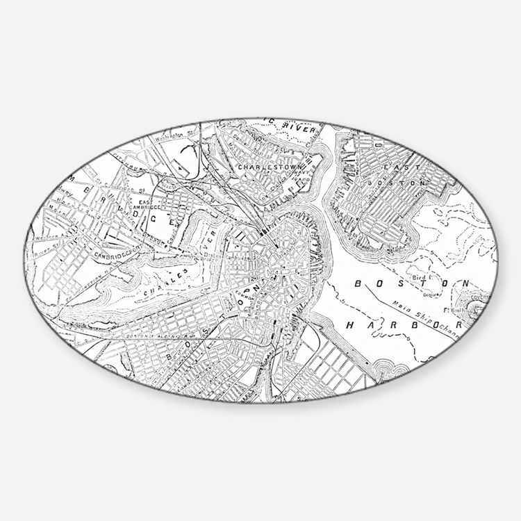 Vintage Map of Boston (1878) Decal