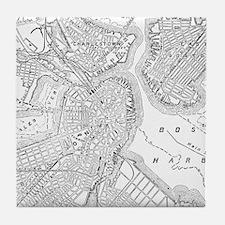 Vintage Map of Boston (1878) Tile Coaster