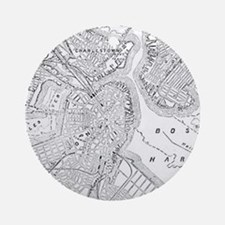 Vintage Map of Boston (1878) Ornament (Round)