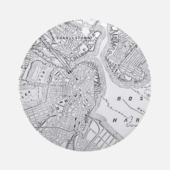 Vintage Map of Boston (1878) Ornament (Round)
