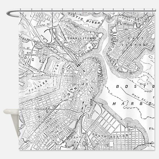 Vintage Map of Boston (1878) Shower Curtain
