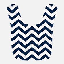 Blue, Navy: Chevron Pattern Polyester Baby Bib