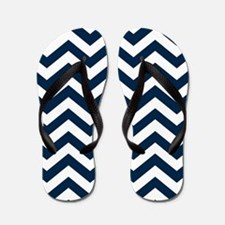 Navy Blue Chevron Pattern Flip Flops