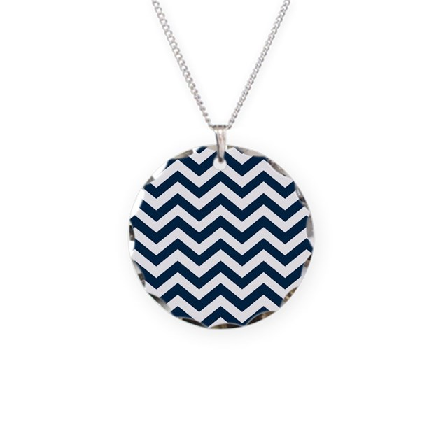 blue navy chevron pattern necklace circle charm by