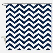 Navy Blue Chevron Pattern Shower Curtain