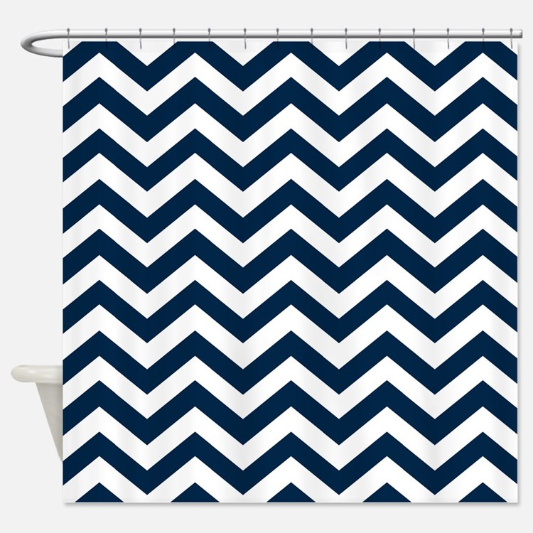 Navy Blue Chevron Shower Curtains