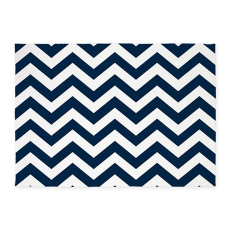 Blue, Navy: Chevron Pattern 5u0027x7u0027Area Rug