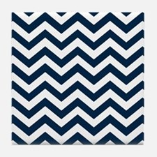 Blue, Navy: Chevron Pattern Tile Coaster