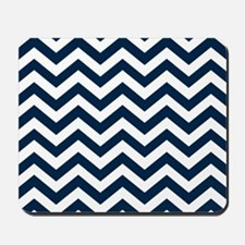 Blue, Navy: Chevron Pattern Mousepad
