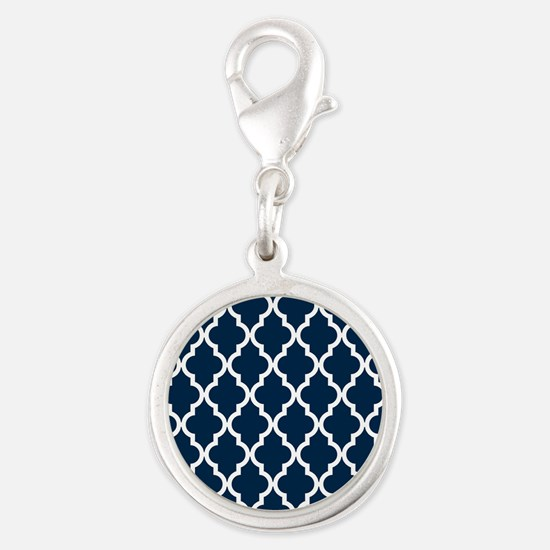 Blue, Navy: Quatrefoil Morocca Silver Round Charm